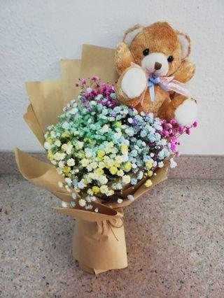 Rainbow babybreath with bear bouquet
