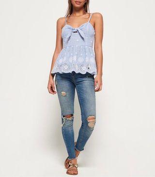 買衣送褲【專櫃正品】Superdry Alice Knot Top 藍白條紋  蝴蝶結 傘狀小可愛 細肩帶背心 台幣價格$3250