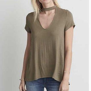 AE Soft and Sexy Choker Tee in Olive