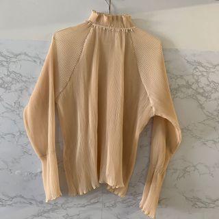 裸粉色 雪絲 花邊 長袖 襯衫 top