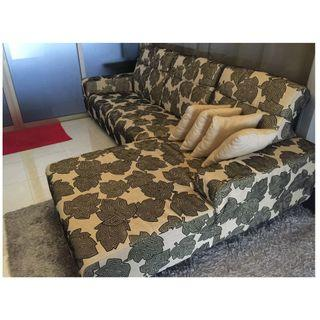 SOFA L-SHAPE WITH ADJUSTABLE HIGH HEADREST & WASHABLE COVER