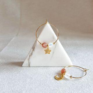 Crystal Earrings with Charm (Moonstone + Sunstone)