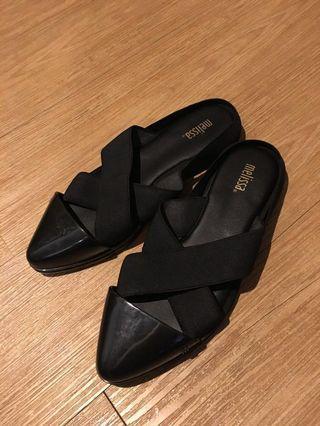 🚚 melissa晴雨兩用黑色繃帶鬆緊帶涼鞋 雨鞋