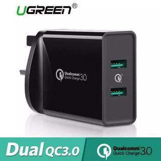 🆕Ugreen Quick Charge 3.0 Wall Charger 36W Dual USB Port FCP