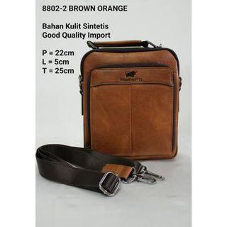 Tas Selempang Braun Buffel 8802-2 Brown Orange Bahan Kulit Sintetis