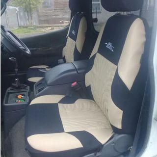 (Beige colour) AUTOYOUTH Brand Embroidery Car Seat Covers Set Universal Fit Most Cars Covers with Tire Track Detail Styling Car Seat Protector