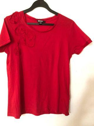 DKNY red tee and Jap brand white top (bundle deal)