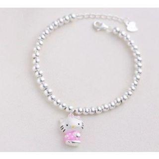 甜美可愛鍍純銀s925銀彩色吊飾HELLO KITTY佛珠手鍊手鏈