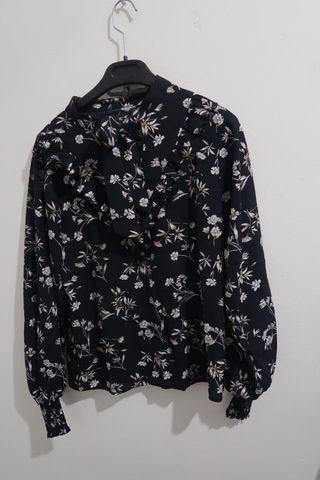 Flowery Navy Blouse