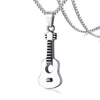 Punk Guitar Pendant Music Lover Stainless Steel Necklace Jewelry