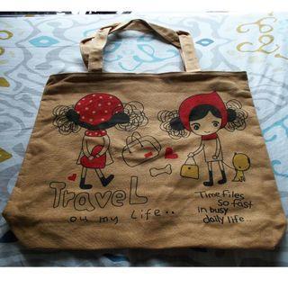 全新旅行女孩 帆布袋 環保袋 購物袋 手提袋 單肩袋 電腦袋 雜物袋 手袋 手挽袋 包包 側背袋 tote bag