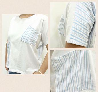 Women T-Shirt with blue patches