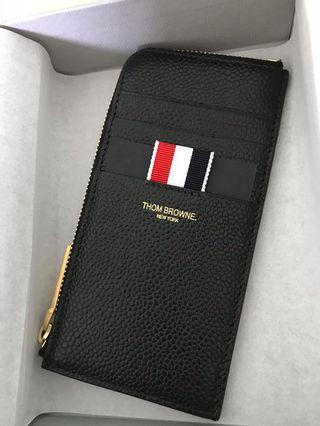 New Thom browne wallet card holder black leather
