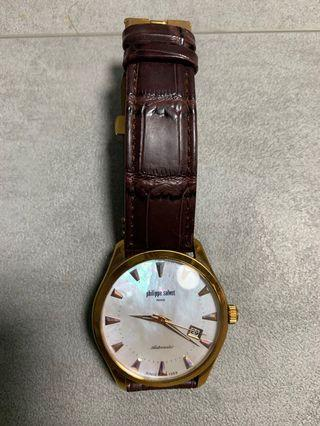 philippe salvet 錶 手錶 自動錶 金扣 粗帶