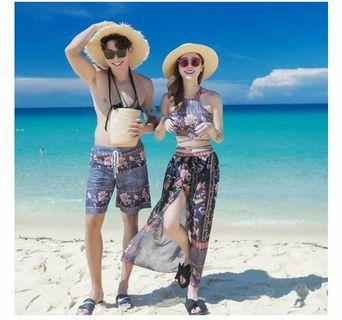 情侶款熱帶度假風民俗古典花色氣質性感美背設計比基尼游泳衣2款2色
