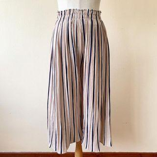 Pleated Striped Culottes