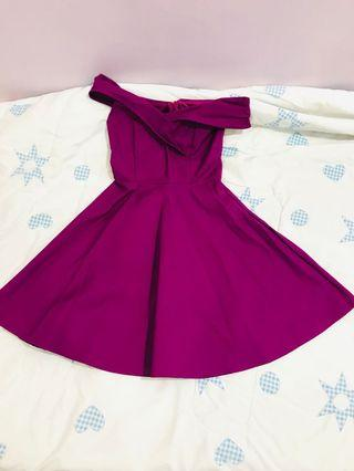 Purple colour overshoulder dinner dress