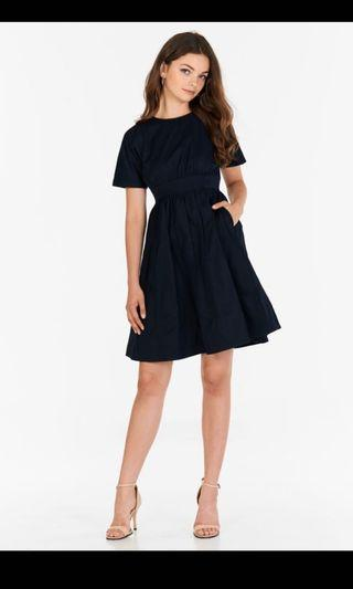 Meagan Pleated Dress in Navy