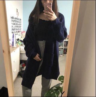 Oversized Navy Knit Cardigan