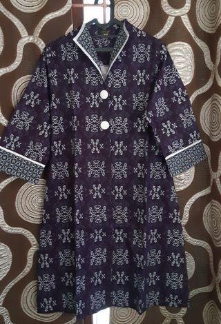 Dress Batik Wanita top / dres modern / dres cantik / dres midi / dres mini / dres biru / batik / free ongkir