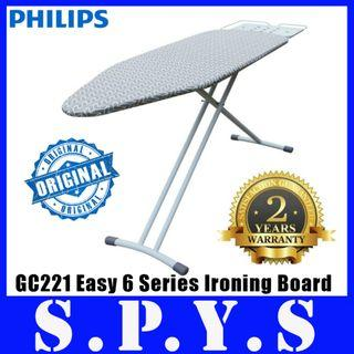 Philips GC221 Ironing Board. Philips GC221/88 Easy 6 Series. Premium High Grade Iron Board. Multi Layered Board. Transport Lock and Feet Caps. 2 Years Warranty.