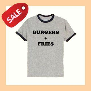 BURGERS + FRIES RINGER TEE SALE ONLY $10