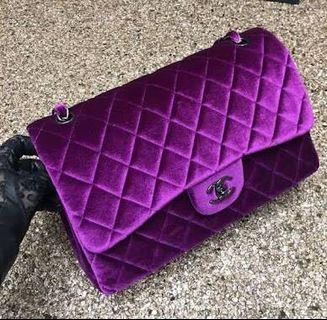 Chanel classic flap quilted velvet handbag