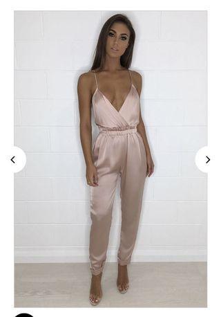 NAKED WARDROBE Pink silk Backless jumpsuit