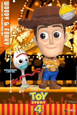 Hot Toys Toy Story 4 Woody Eyeball Rotation Function and Forky Cosbaby Set MISB