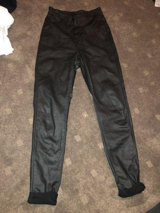 SUPRE LEATHER LOOK PANTS SIZE 10