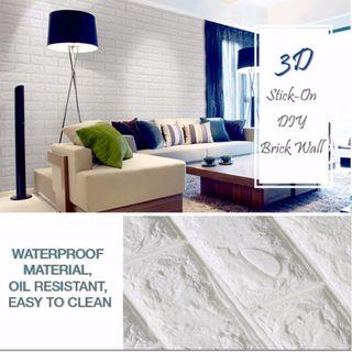 FOAM BRICK WALL WHITE 70x77CM WHITE WALL STICKER