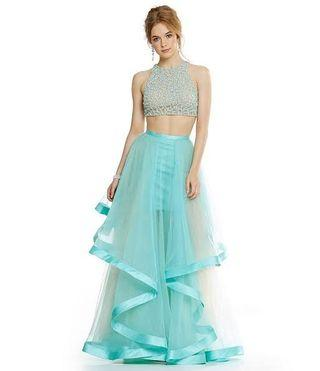 Formal Dress Terani Couture Beaded Top Two Piece