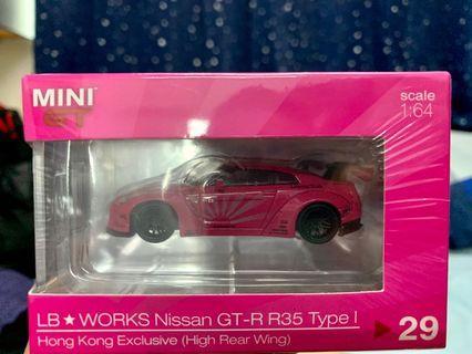 全新 AEON 香港限定 Mini GT 1/64 LB WORKS Nissan GT-R R35 Type 1 粉紅色 高翼版 (Not Tarmac Ignition Model Tomica Tiny)