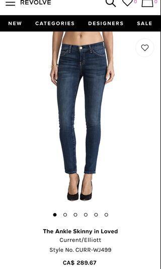 Current Elliot skinny crop jeans size 25