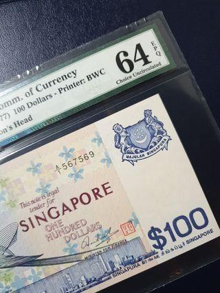 🚚 [PMG64 EPQ] Singapore $100 Bird A/1 Prefix