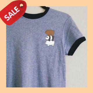 SALE INSTOCK ONLY $10 WE BARE BEARS RINGER TEE GREY