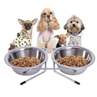 Pet Stainless Steal Double Food Bowl INSTOCKS! FREE SHIPPING!