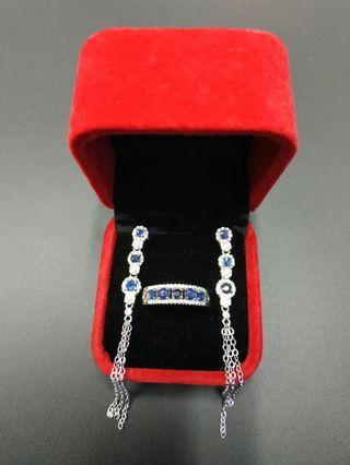 Sapphire Ring & Earrings, S925 ,with certificate