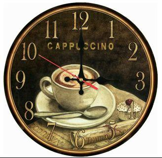 🌟PM for price🌟 🍀Cup Of Coffee Printed Wooden Wall Clock🍀