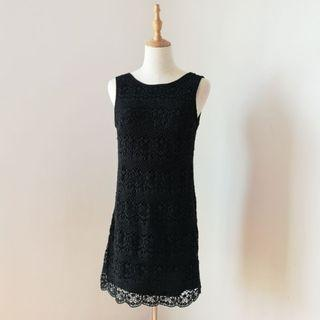 Crocheted Mini Black Dress