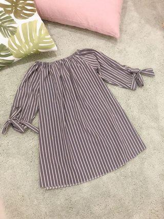 Off Shoulder Dress stripes dress casual #MGAG101 #juneToGo