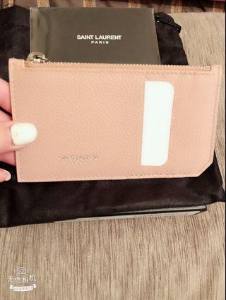 YSL全新粉紅色卡夾零💰包