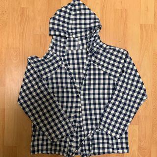 blue checkered hoodie / parka