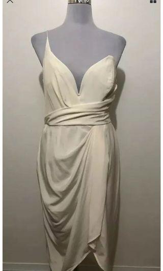 Ladies ZIMMERMANN Silk Cream One Shoulder Wrap Dress.   Size 3 (12-14) $450