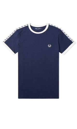 Authentic Fred Perry Taped Ringer Tee Navy
