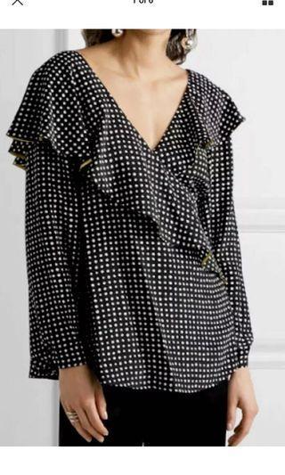 Ladies DIANE VON FURSTENBERG Silk Wrap Frill Top.   Size 10