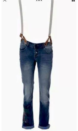 Ladies DESIGUAL Stretch Denim Jeans with Suspenders.  Size 32 (12)