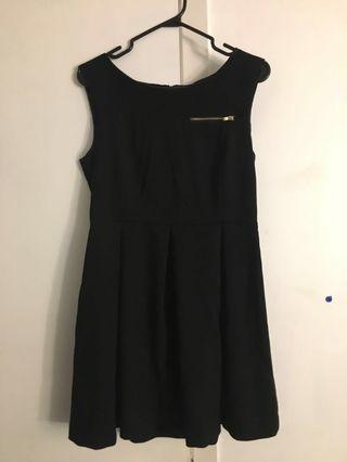H&M black dress with gold zippers