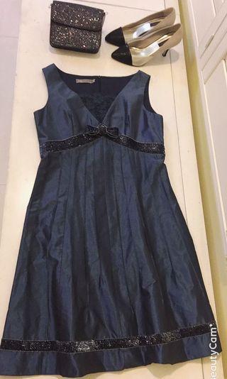 🚚 我的法式優雅 en-suey銀穗 size:40 綢緞蕾絲面料洋裝 貴婦禮服 金絲亮面滾邊設計 皇家藍 🏰Royal Blue 👑 類夏姿貴婦款