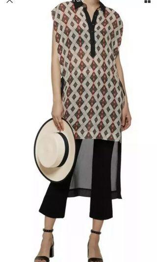 Ladies CAMILLA Kaftan Shirt Assymetric Long Top. Size S.$449